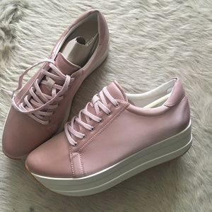 VAGABOND UK Pink Satin PLATFORM Sneakers SZ 40 9.5